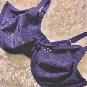 Wacoal 36DD Lace Lined Navy Floral Bra Support